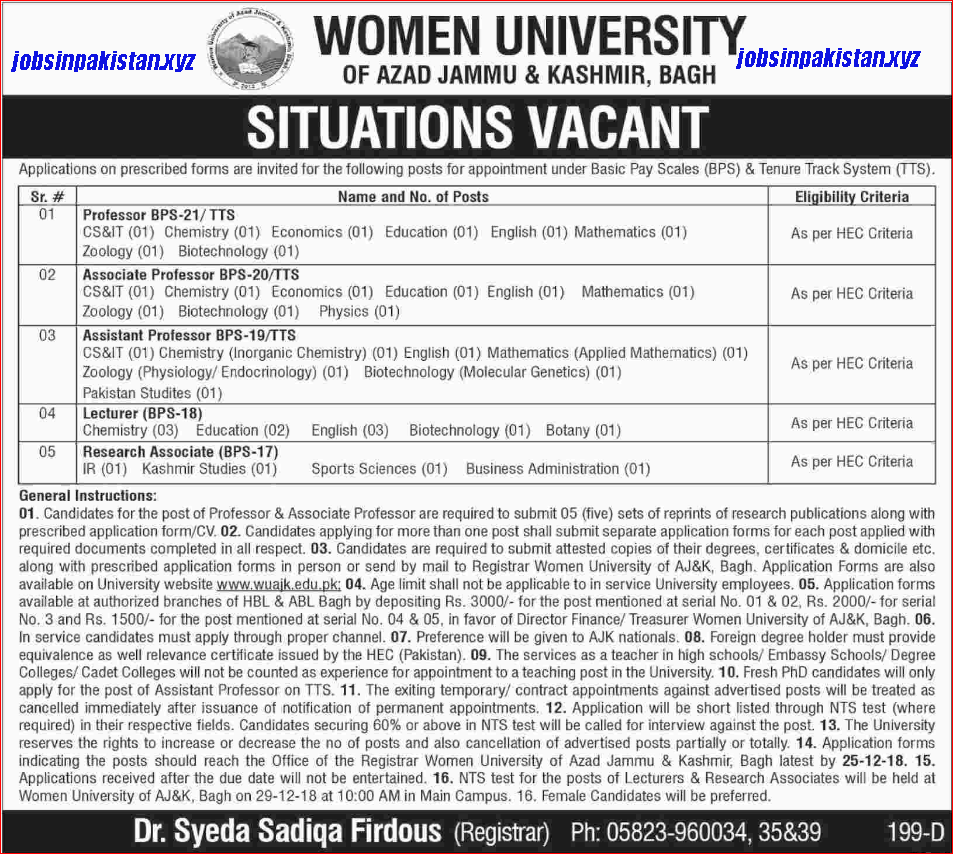 Advertisement for Women University of Azad Jammu & Kashmir Jobs 2018