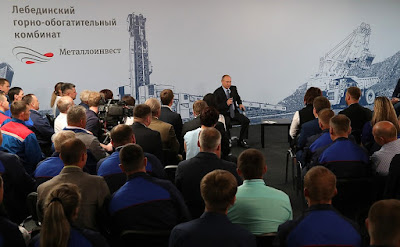 Vladimir Putin meeting with Lebedinsky GOK workers.