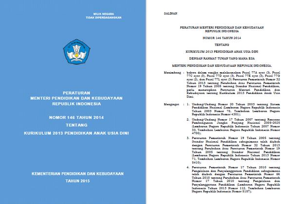 Permendikbud Nomor 146 Tahun 2014 Tentang Kurikulum 2013 Pendidikan Anak Usia Dini