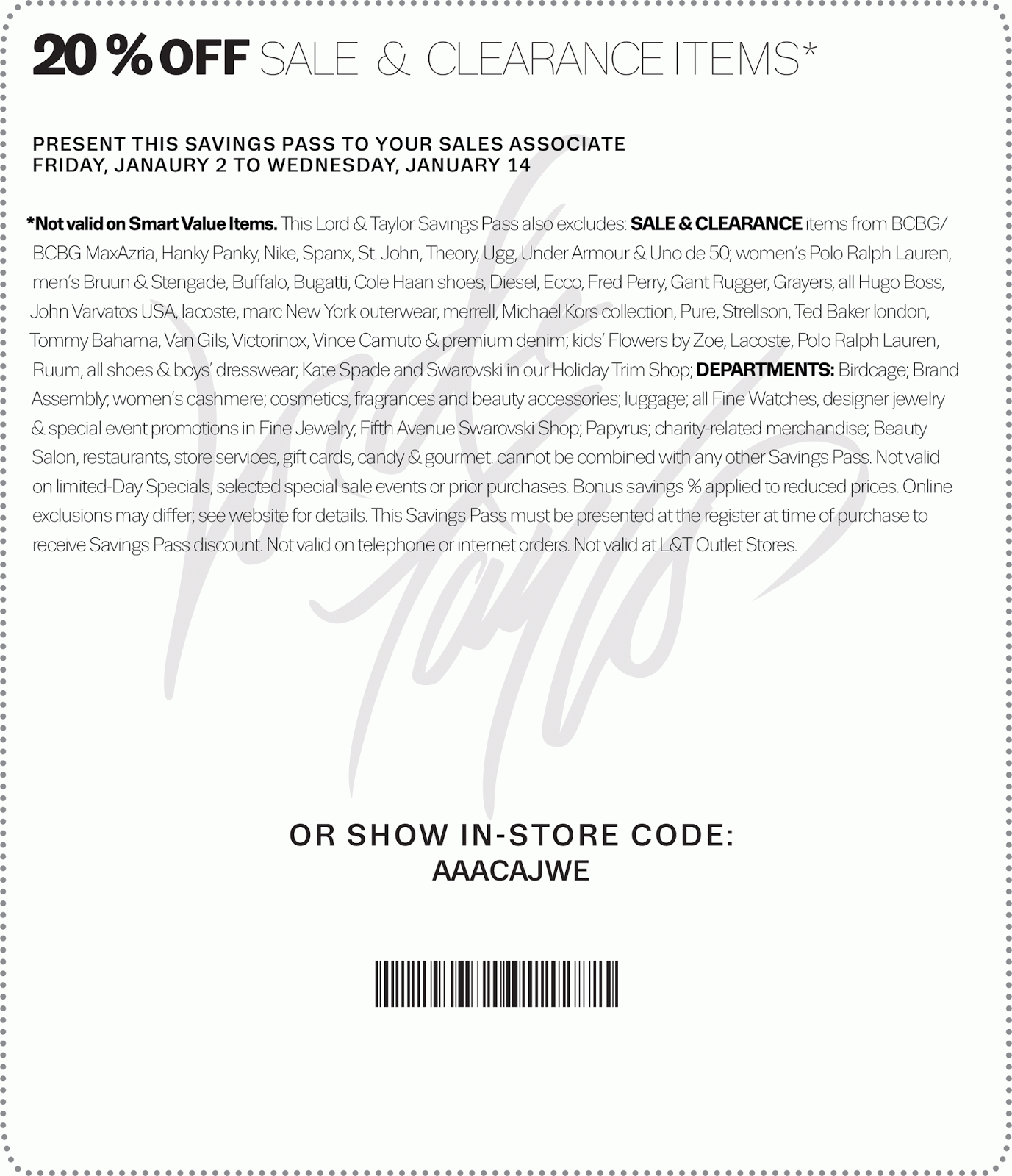 graphic about Bloomingdales Printable Coupons identified as Lord and taylor discount coupons printable september 2018 / Large