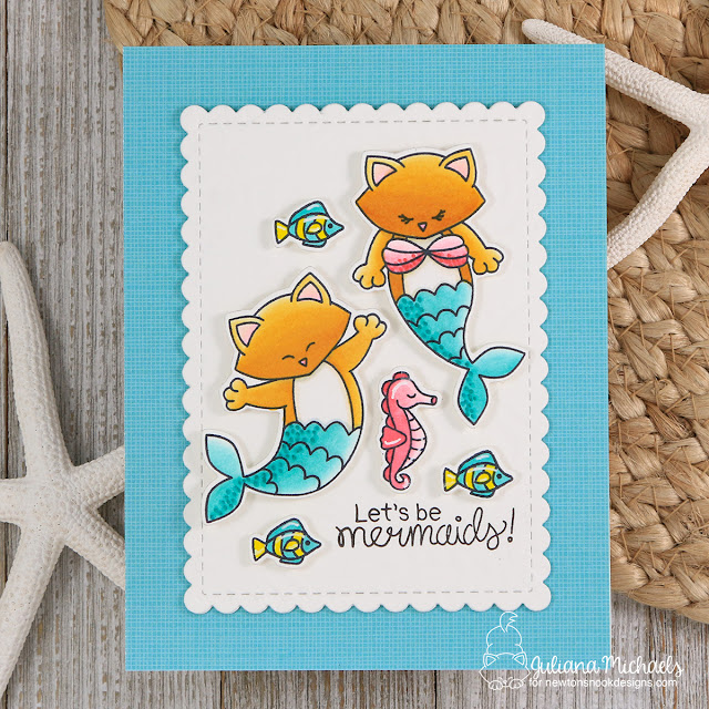 Let's Be Mermaids Card by Juliana Michaels featuring Newton's Nook Designs Purrmaid Newton Stamp Set and Tropical Fish Stencil