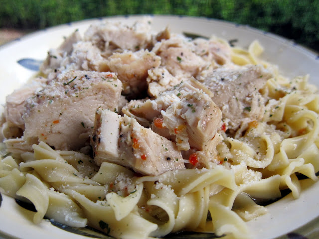 Crockpot Lemon Chicken - 5 simple ingredients! TONS of great flavor! We served this over egg noodles and poured the juices from the crockpot over it. SO good!!