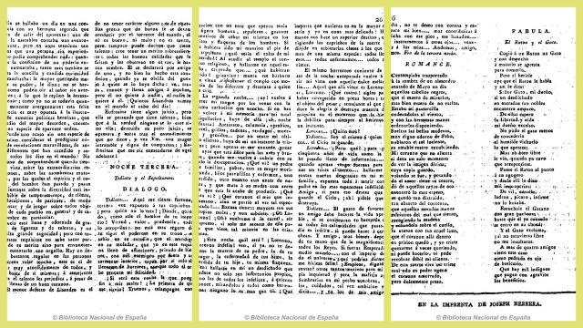 Reproducción facsmilar de las tres páginas donde aparece la tercera noche