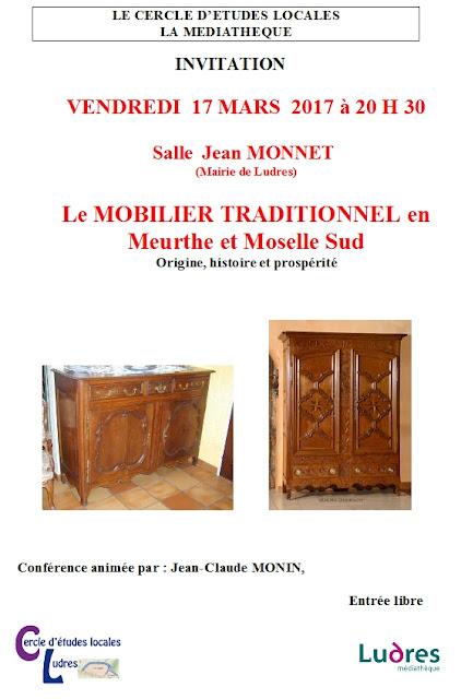 """LUDRES (54) - Conférence """"Le mobilier traditionnel en Meurthe-et-Moselle Sud"""" (17 mars 2017)"""