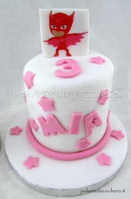 mini cakes pj masks connor amaya super pigiamini gatto boy gufetta torta cake design polvere di zucchero cialda alimentare wafer paper