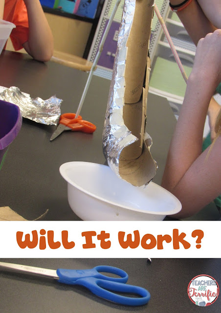 STEM Challenge: Sometimes our mistakes help us learn! This group learned that the slide part of this water slide needed to be covered. When the cardboard soaked up the water, they had a real 'aha' moment!
