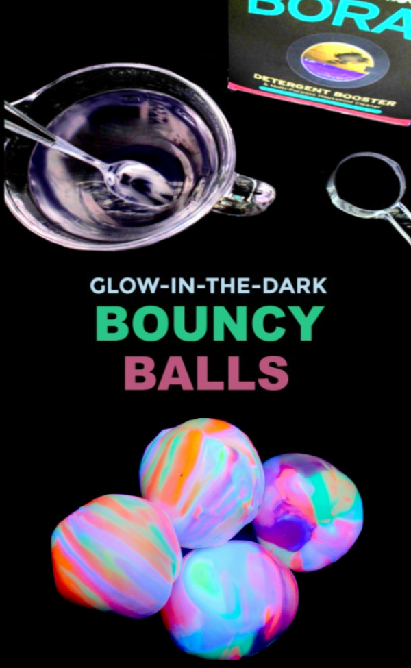 Wow the kids this summer and make bouncy balls that glow-in-the-dark!  This activity explores science in a way that kids of all ages are sure to love! #growingajeweledrose #howtomakebouncyballs #homemadebouncyballs #bouncyballsdiy #bouncyballs #bouncyballsrecipe #glowinthedarkbouncyballs