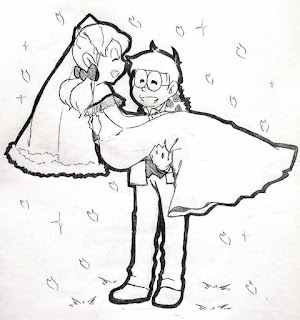 Nobita And Shizuka Marriage Painting Art