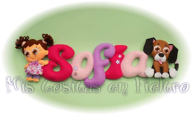 nombre, guirnalda, rótulo, bebé, fieltro, niños, regalo, nacimiento, nome, letras, puerta, habitación, niño, niña decoración, Sofía, perro, beaggle, cachorro