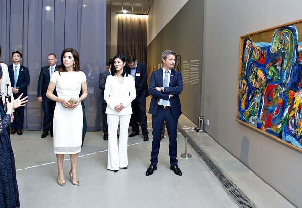 Crown Princess Mary wore a silk midi dress by Marc Jacobs