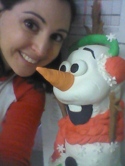 Tarta de cumpleaños original de Frozen Olaf en 3D