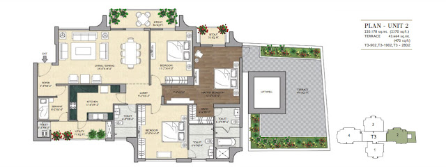 3 BHK - 2370 Sq.Ft. Flat Floor Plan Vipul Aarohan, Sector-53, Gurgaon