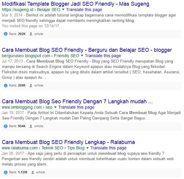 Semakin kebawah, semakin rendah pula Alexa Rank