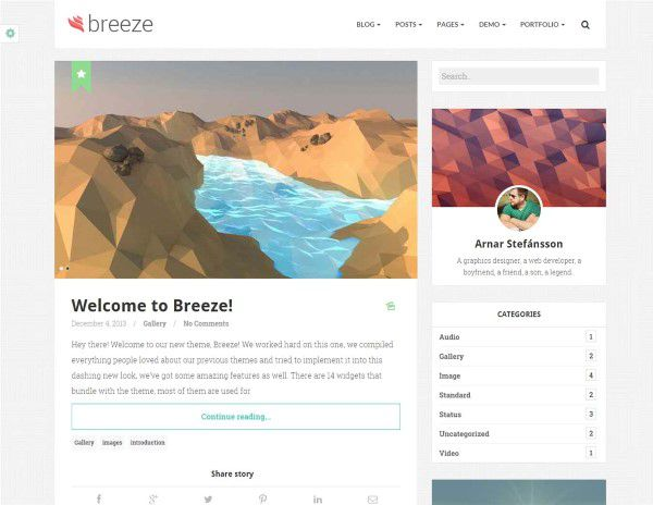 Breeze minimal blogging theme