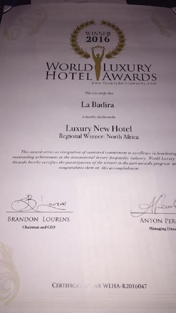 hôtel tunisien, La Badira, a remporté le prix « Best Luxury New Hotel » qui s'inscrit dans le cadre des « The World Luxury Hotel Awards »