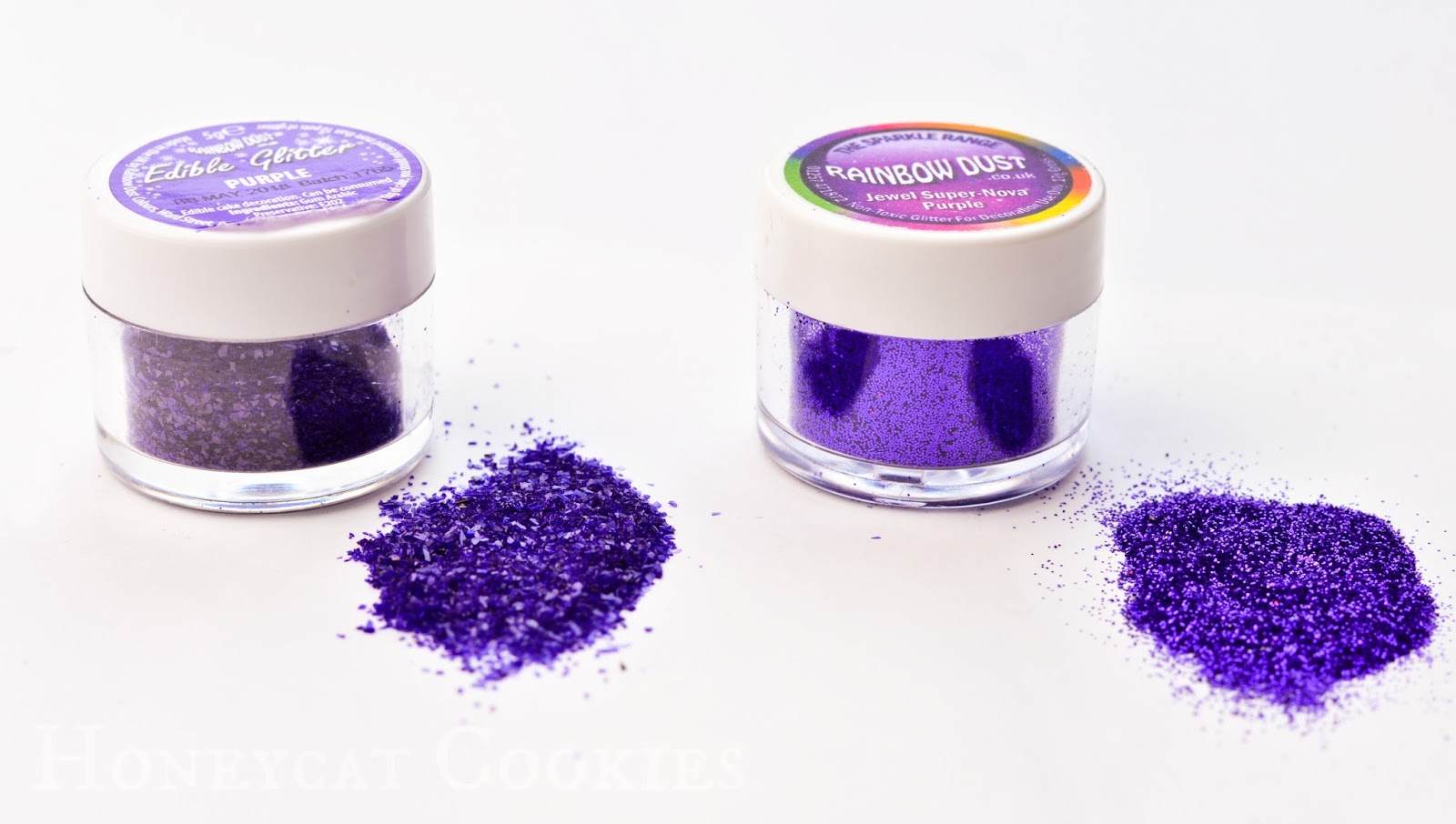 Rainbow Dust 'Edible Glitter' and 'Non Toxic' glitter side by side for comparison. Photo by Honeycat Cookies.