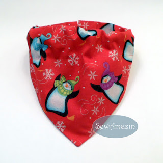 Christmas Dog Bandana, Penguins in Snowflakes