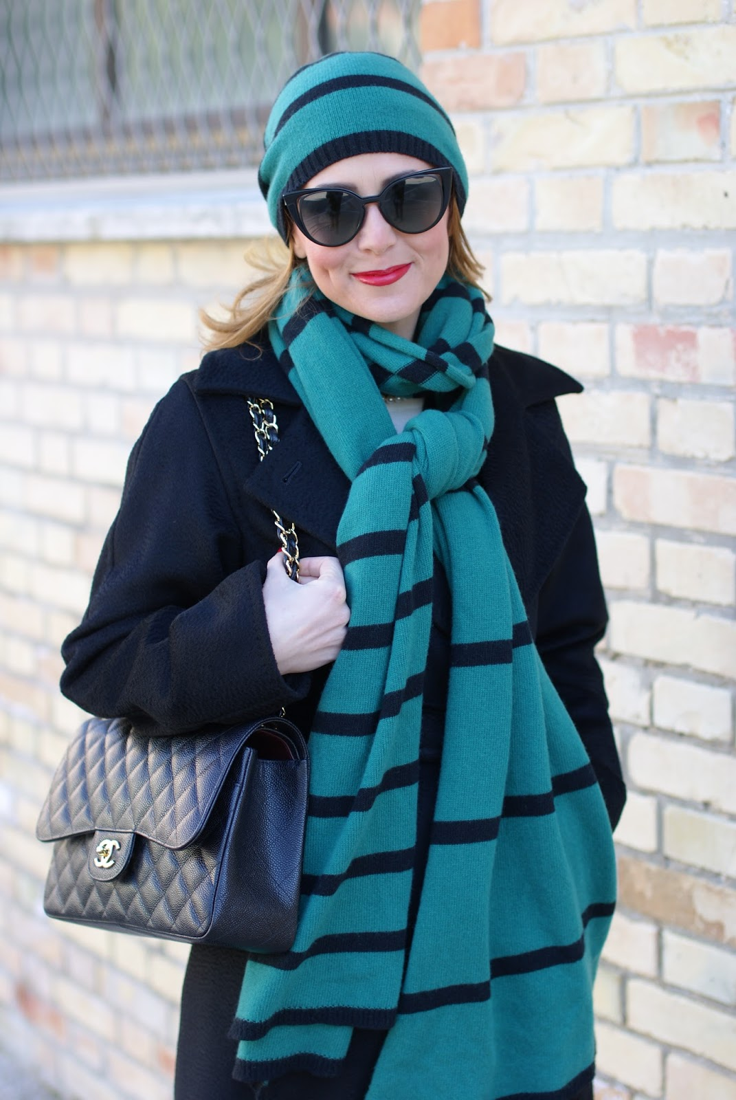 Matchy matchy Jucca scarf and hat, Max Mara coat and Chanel bag on Fashion and Cookies fashion blog, fashion blogger style