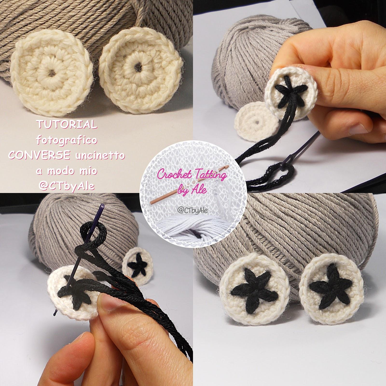 Punto Crochet All Uncinetto.Scarpine Similiconverse A Uncinetto Per Neonati