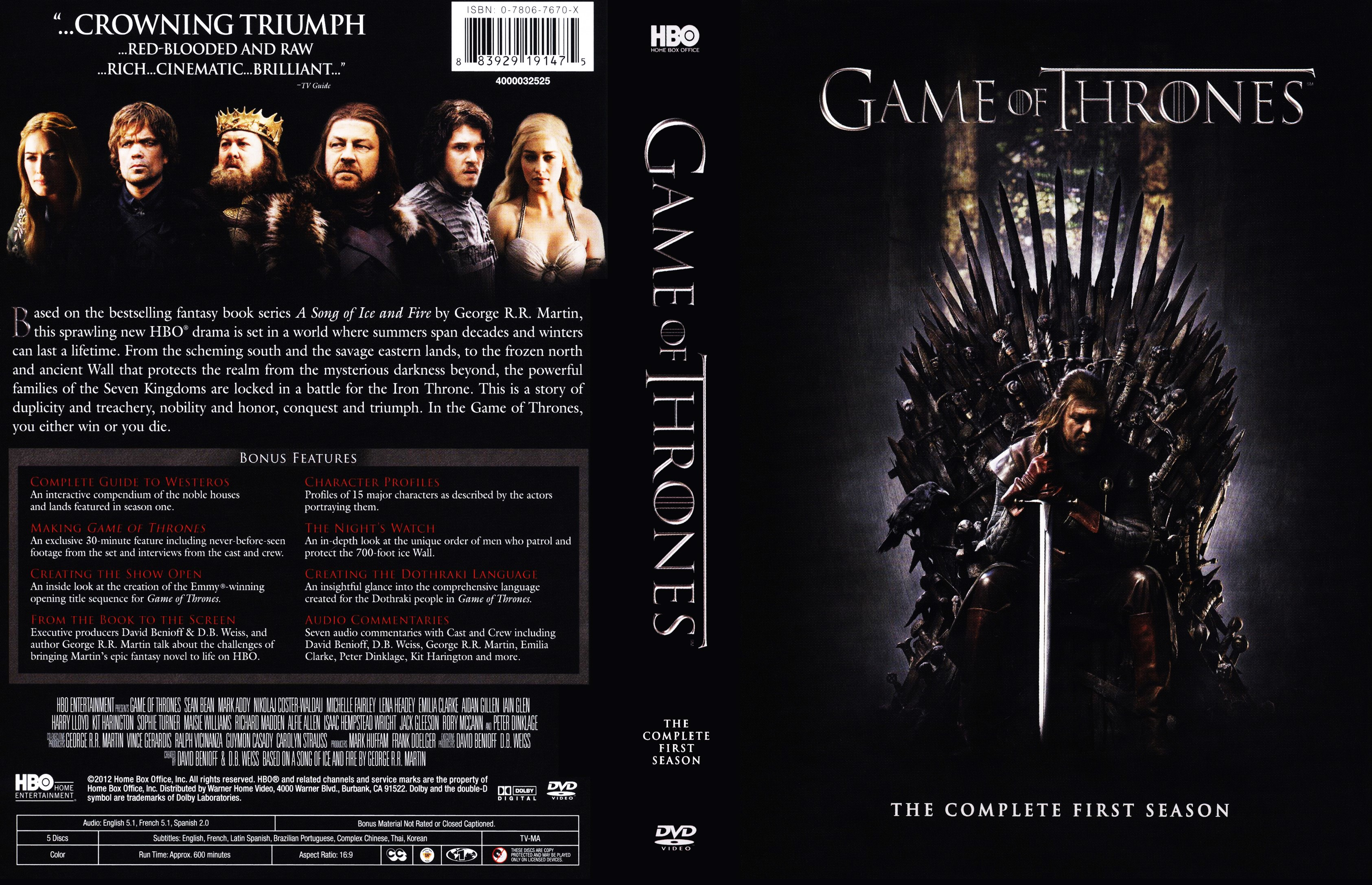 Game Of Thrones Season 1 Dvd Cover Cover Addict Free Dvd