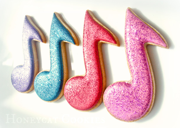 Musical Note decorated cookies with disco dust, photo by Honeycat Cookies
