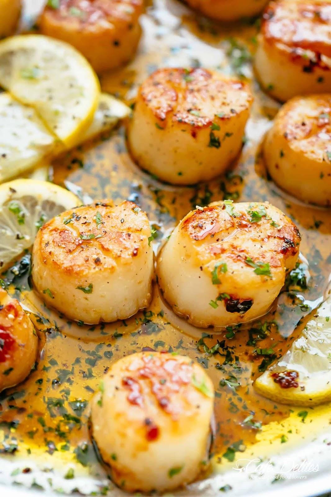 Lemon Garlic Butter Scallops #healthydinner #eat