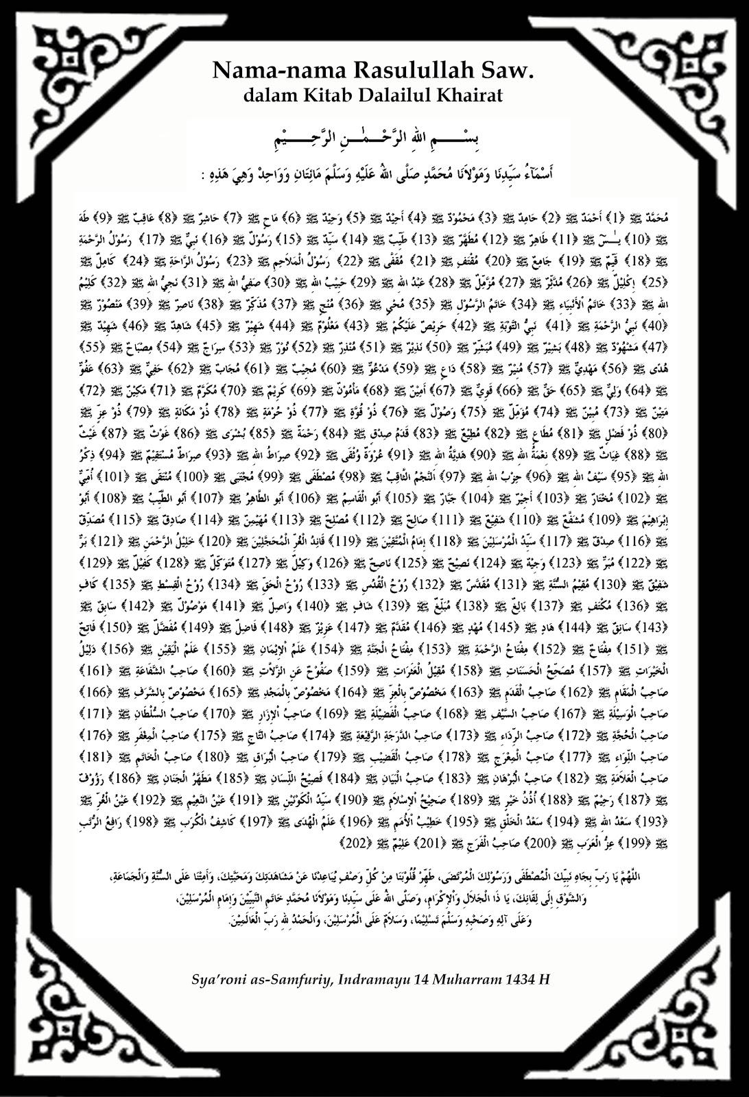Majelis Ratib Dan Maulid Al Inabah Nama Nama Nabi