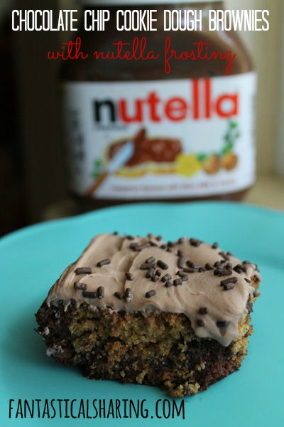 Chocolate Chip Cookie Dough Brownies with Nutella Frosting // The combination of cookie dough and brownies topped with a decadent Nutella or milk chocolate frosting - all in one little bar! #dessert #Nutella #brownies