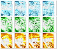 Mapy szczegółowe zachmurzenia nad Polską w dniu 9 maja. W wierszach od góry: zachmurzenie piętra niskiego, średniego i wysokiego. W kolumnach od lewej: godz. 09:00 UT, 12:00 UT, 15:00 UT i 18:00 UT (dla czasu obowiązującego w Polsce - CEST - należy dodać dwie godziny). Źródło: meteo.pl