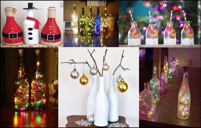 Decoração de natal usando garrafas