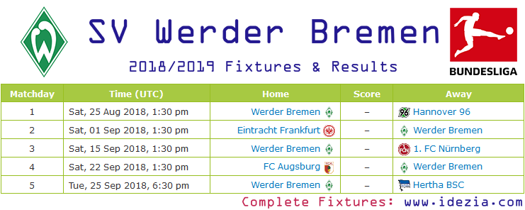 Download Full Fixtures PNG JPG Werder Bremen 2018-2019