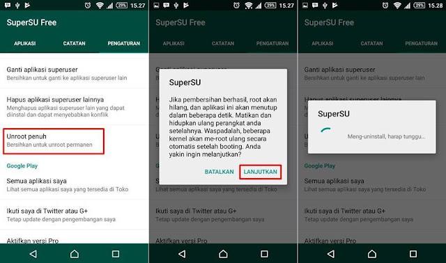 cara unroot android tanpa pc dengan supersu