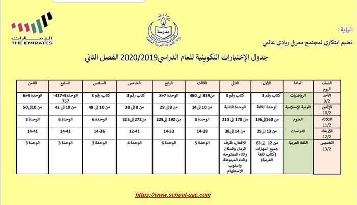 مواعيد الإمتحانات التكوينية الموحدة للفصل الدراسي الثاني للعام 2019-2020 الامارات