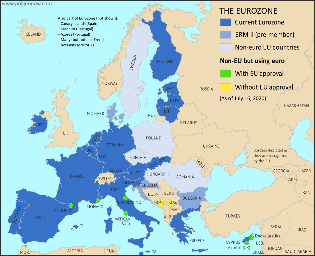 Map of the Eurozone (euro area), showing which countries use the euro as their currency. Includes members, pre-members (ERM II or ERM-2 waiting area), EU non-members using the euro, and other EU countries (color blind accessible). Updated for July 2020 with the entry of Croatia and Bulgaria into the ERM-II.