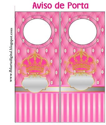 Para Aviso de Puerta de Corona Dorada en Fondo Rosa con Brillantes.