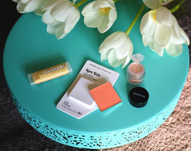 Kjaer Weis Cream Blush Refills, Alima Pure Luminous Shimmer Eyeshadows, and Hurraw! Lip Balms