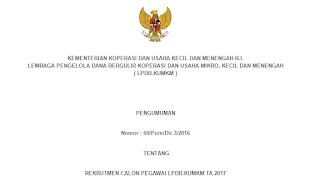 Lowongan Kerja Non PNS LPDB Kementerian Koperasi dan UKM Republik Indonesia