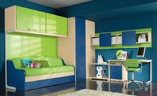Cuarto en verde y azul