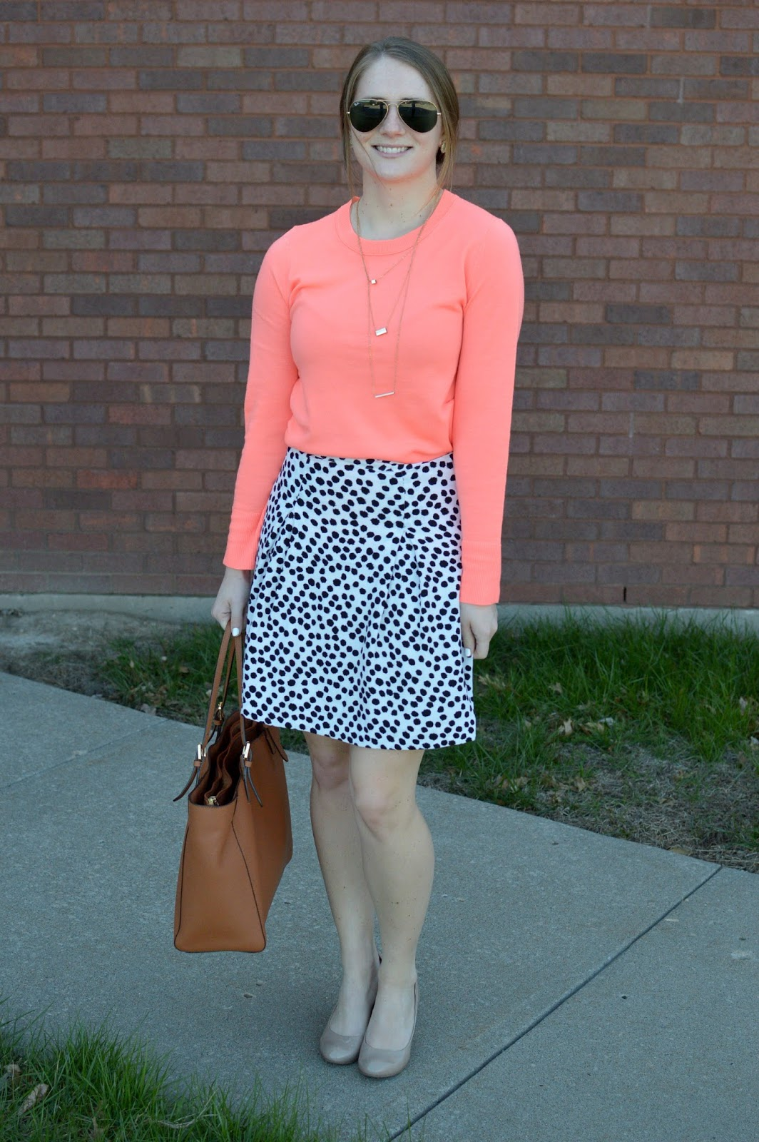 what to wear with a coral sweater | how to style a coral sweater | a memory of us