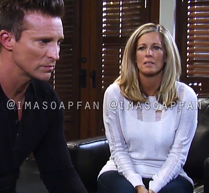 Carly Corinthos, Laura Wright, Ivory Distressed Ladder Stitch Sweater, General Hospital, GH