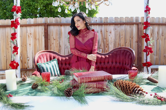 A Stylish Love Story Blog California lifestyle blogger Joanna Joy Vintage Christmas Victorian Style Christmas velvet French settee burgundy lace chandelier poinsettia