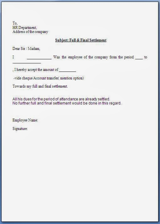 full and final settlement letter template full and final settlement acceptance letter