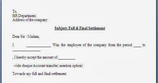 Full And Final Settlement Acceptance Letter