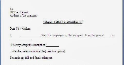 Full and Final Settlement Acceptance Letter