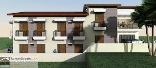 Tampak Samping Kiri Rumah kost minimalis modern 2 lantai