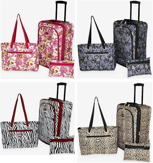 3995447586da Gloria Vanderbilt 3-piece carry-on luggage sets (your choice of four  patterns) for  43.75 shipped