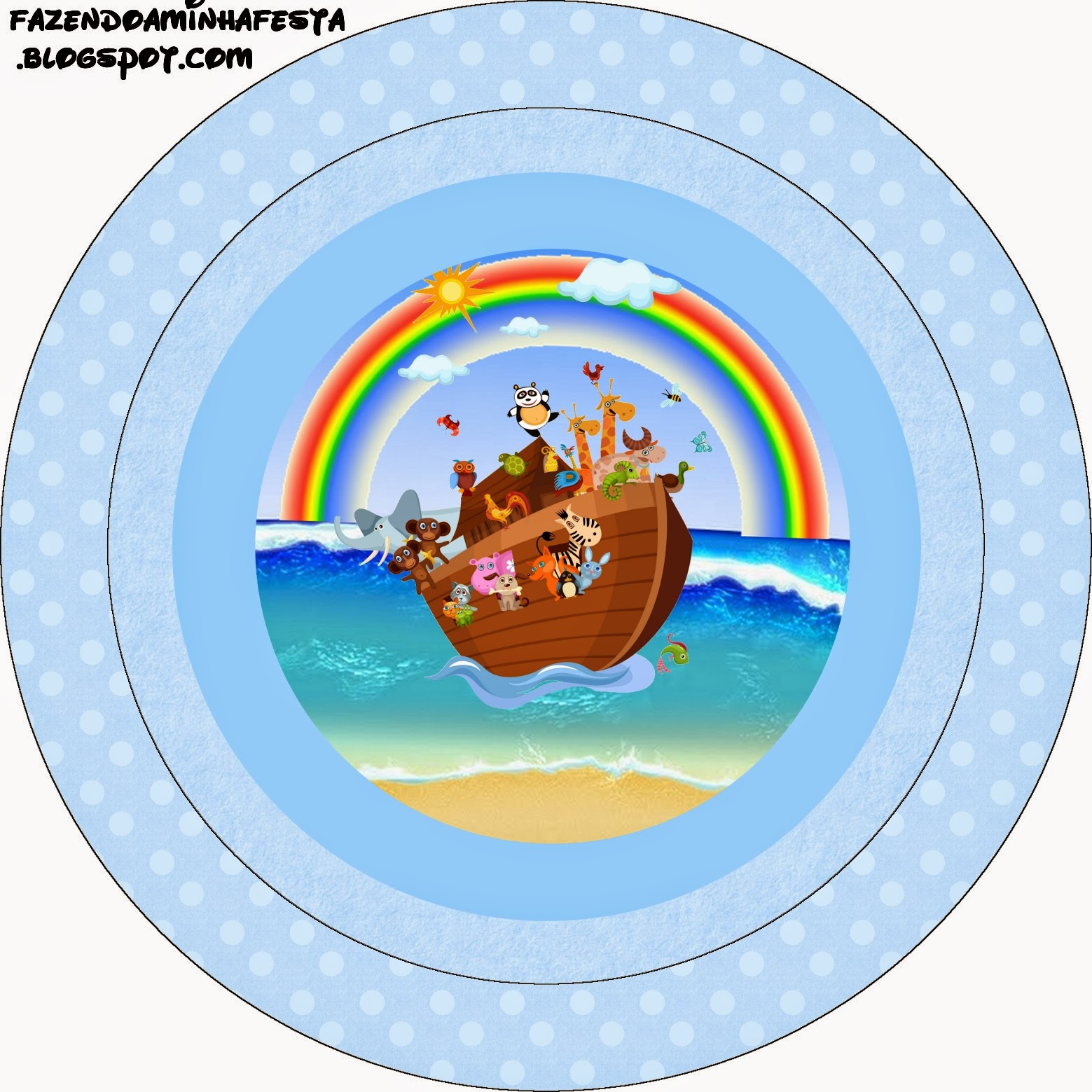 Noah's Ark in Light Blue Free Printable Cupcake Toppers and Wrappers.