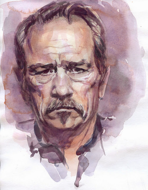 Retrato en acuarela del actor Tommy Lee Jones