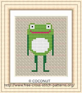 Frog 2, Free and easy printable cross stitch pattern