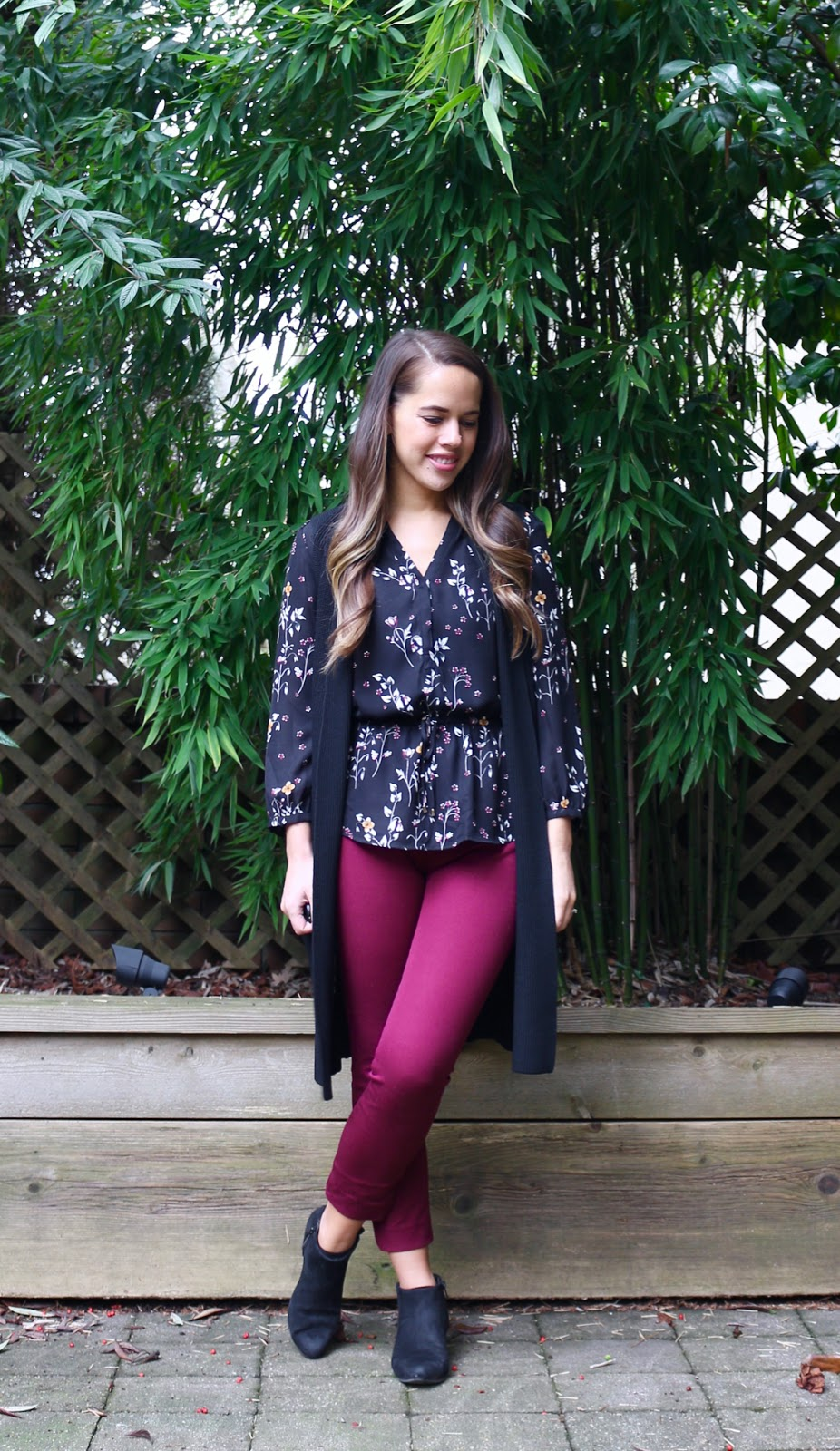 Jules in Flats - Dark Florals + Burgundy with Long Sweater Vest (Business Casual Winter Workwear on a Budget)